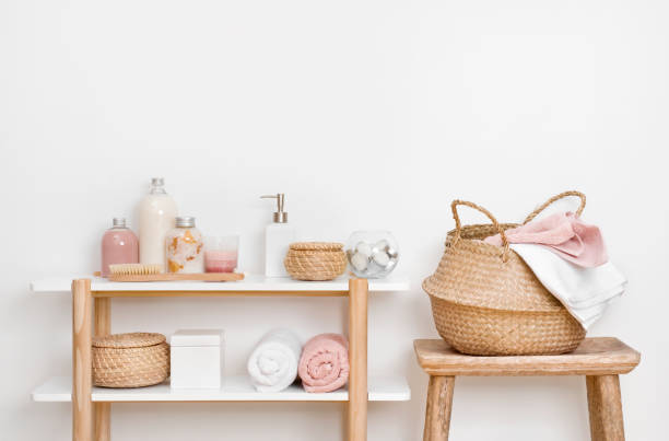 how to decorate open bathroom shelves