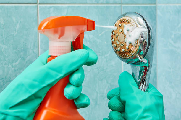 cleaning shower head with vinegar